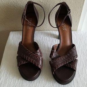 d53956c95e2 Franco Sarto brown peep toe ankle strap heels W8.5
